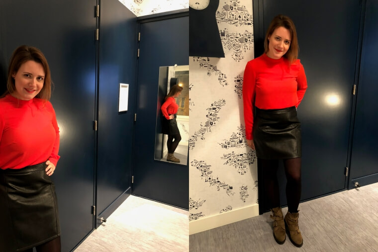 Super Outfit: Leren rok en Knalrode blouse | Moonoloog #XD59